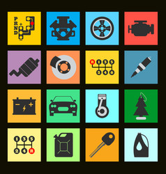 set of service car flat icon on black background vector image