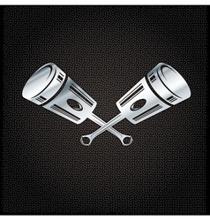Silver pistons on metal background vector
