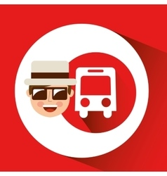 Tourist man with camera and bus transport vector
