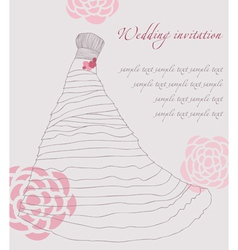 wedding dress invitation card vector image vector image