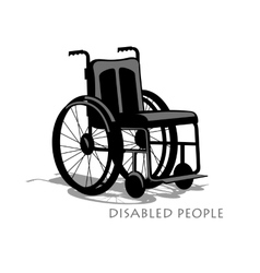 Wheelchair silhouette with shadow and text vector image