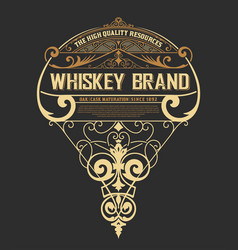 Whiskey label western style vector