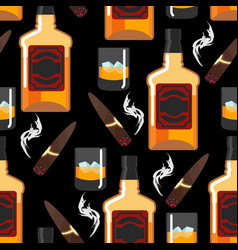 Whiskey with ice seamless pattern gentleman vector