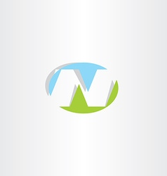 Blue green letter n ellipse logo icon vector