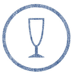 Empty wine glass rounded fabric textured icon vector