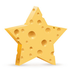 Abstract star in form cheese on white background vector