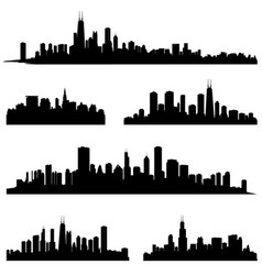 City silhouette set panorama background skyline vector