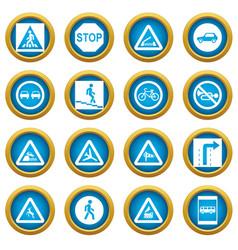 Road sign set icons blue circle set vector