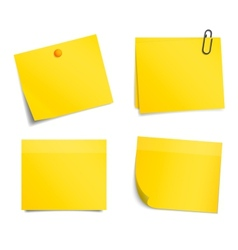 Yellow notice stickers on white background vector