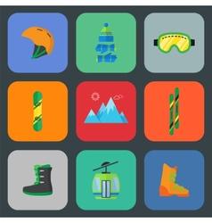Ski and snowboard flat icon set vector image
