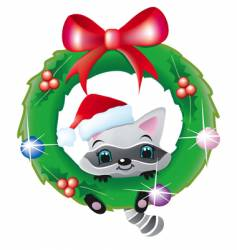 raccoon in a christmas wreath vector image