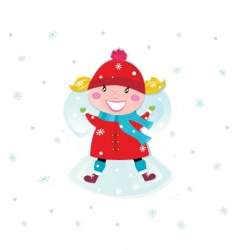 girl and snow angel vector image