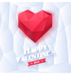 Red origami heart on white background with shadow vector