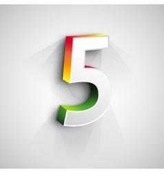 3d Number Five vector image