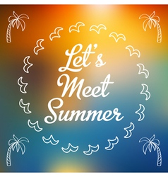 Invitation summer card with palms vector
