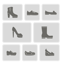 Set of monochrome icons with shoes vector