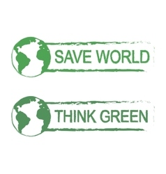Save world think green sign with planet vector