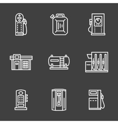 Simple line white gas station icons vector