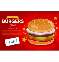 Burger sale banner template vector
