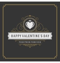 Valentines day greeting card or poster and heart vector