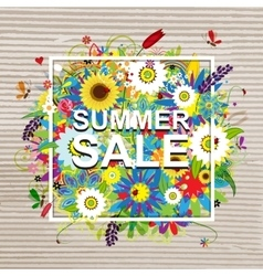 Summer sale design floral frame on cardboard vector