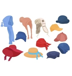 Different kind of cartoon hats set collection vector