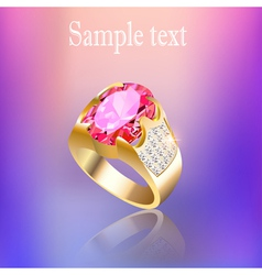 Background with gold ring gem vector