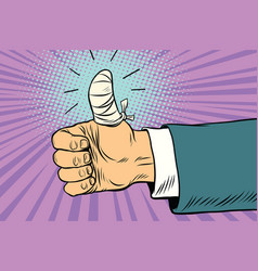 bandaged finger up like approval gesture vector image