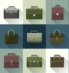 briefcase icon set vector image vector image