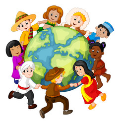 children holding hands around the world vector image vector image