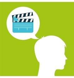 Clapper film silhouette head think movie vector