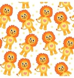 Cute cartoon lion seamless texture vector image