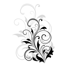 Dainty scrolling black and white floral element vector