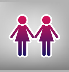 Lesbian family sign purple gradient icon vector