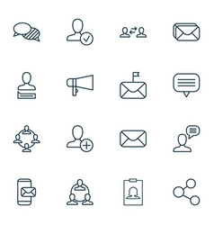Network icons set collection of bullhorn message vector