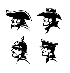 Pirate cowboy prussian general german soldier vector image vector image