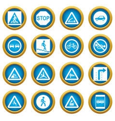 road sign set icons blue circle set vector image