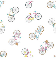 seamless pattern with hand drawn bicycles modern vector image