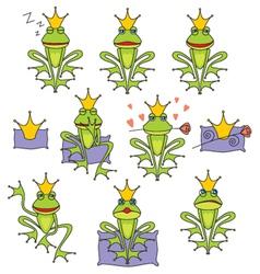 set emotional expression frog vector image vector image