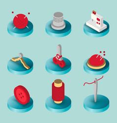 Sewing flat isometric icons vector