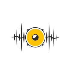 Stylised yellow speaker on dark waves vector