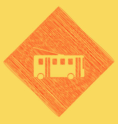 Trolleybus sign red scribble icon vector