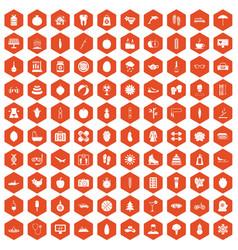 100 women health icons hexagon orange vector