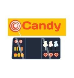 Candy shop showcase vector