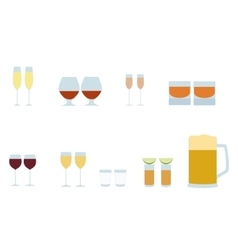 Different alcohol glasses icons vector