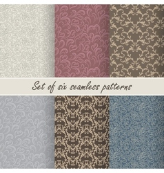 Set of six seamless patterns vector