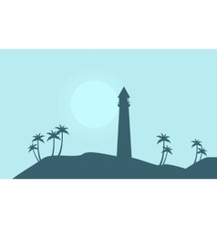 Silhouette of lighthouse on hill scenery vector image