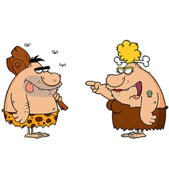 Caveman and angry cavewoman vector