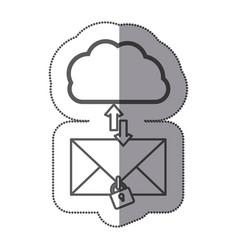 cloud hosting center downloading and uploading vector image