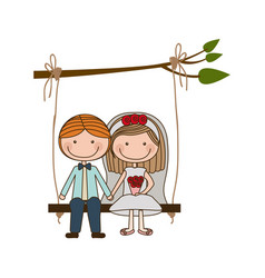 Colorful caricature married couple sit in swing vector
